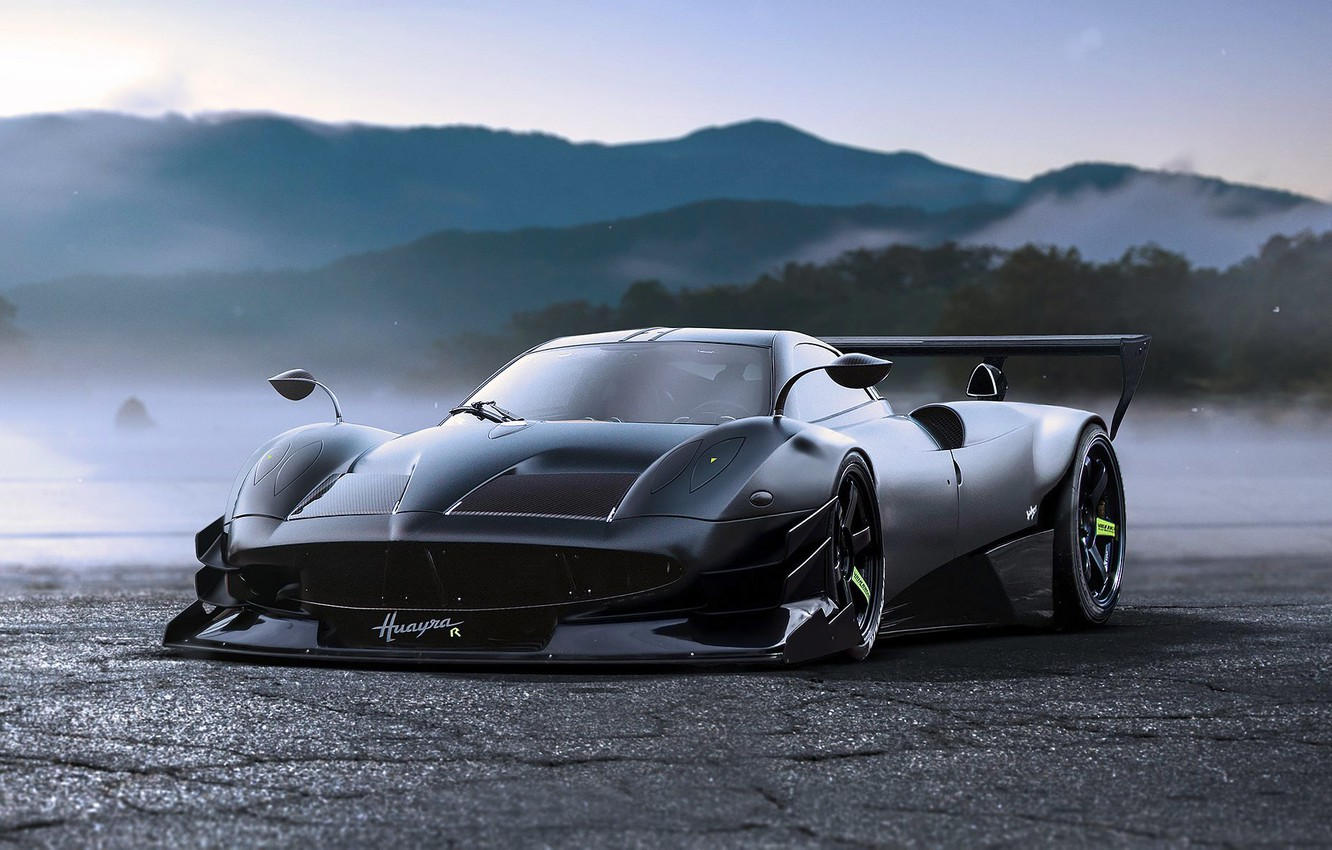 Photo wallpaper Concept, Pagani, Black, Tuning, Future, by Khyzyl Saleem, To huayr