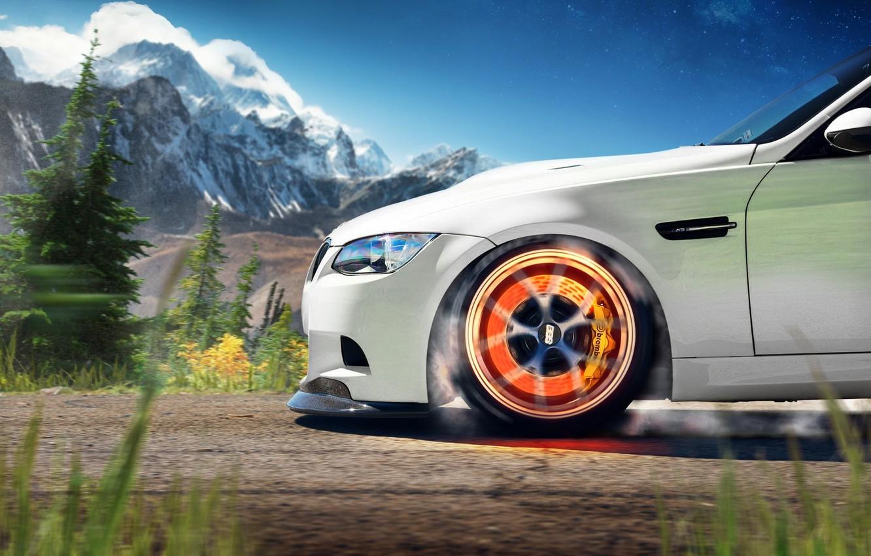 Photo wallpaper white, mountains, BMW, BMW, white, front, caliper, 3 Series, brake disc