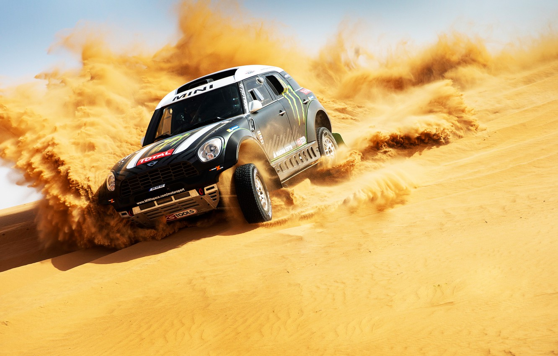 Photo wallpaper Auto, Mini, Black, Sport, Machine, Race, Skid, Mini Cooper, Dakar, SUV, Rally, Mini, The front, …