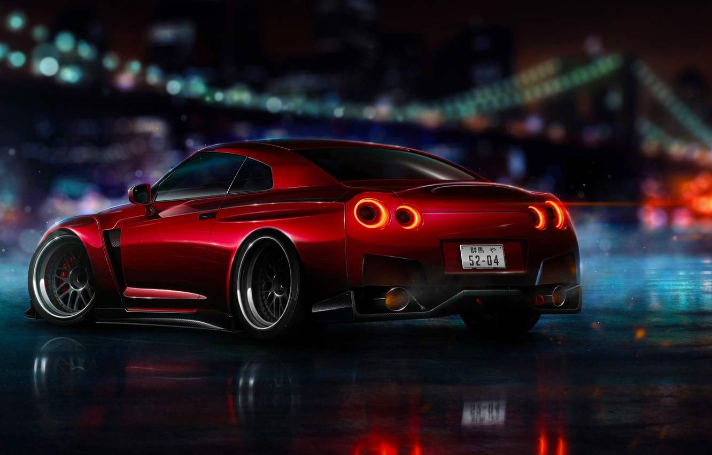 Photo wallpaper Nissan, Red, GT-R, NFS, R35, 2015, Ligth, Nigth