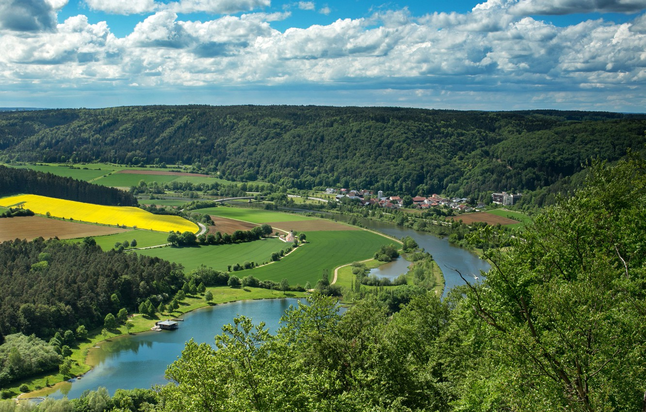 Photo wallpaper clouds, river, field, Germany, Bayern, panorama, forest, Riedenburg