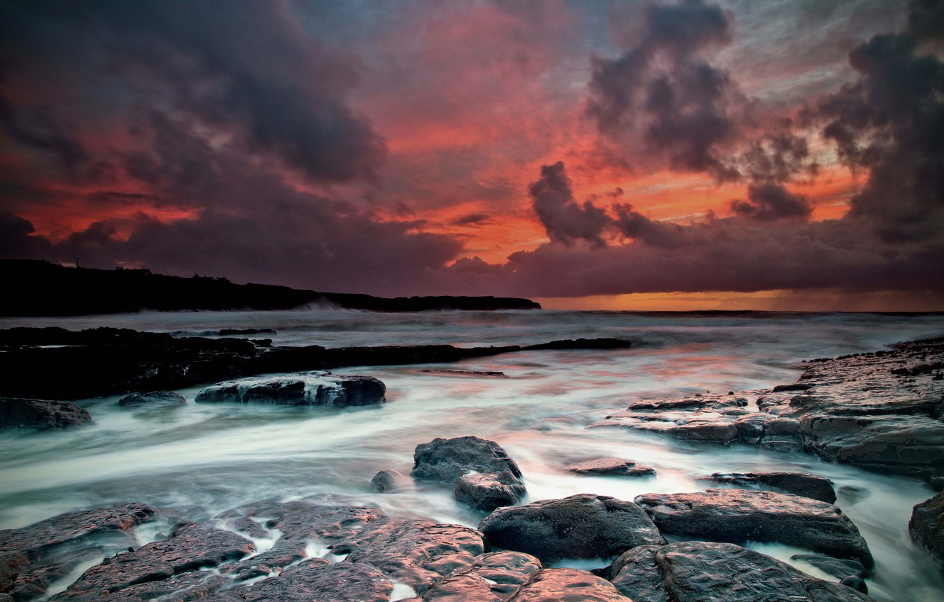 Photo wallpaper wave, autumn, water, clouds, sunset, clouds, stones, rocks, shore, excerpt, Claire, threads, The Atlantic ocean, …