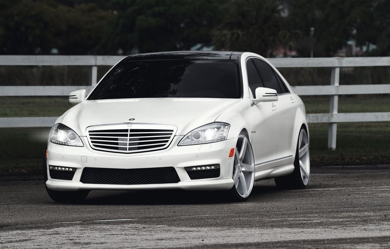 Photo wallpaper white, Mercedes-Benz, white, Mercedes Benz, S 63, S Class