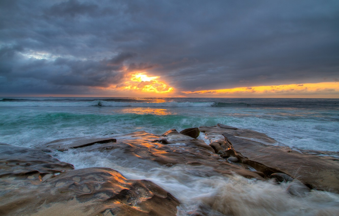 Photo wallpaper sea, wave, the sky, clouds, light, sunset, stones, threads