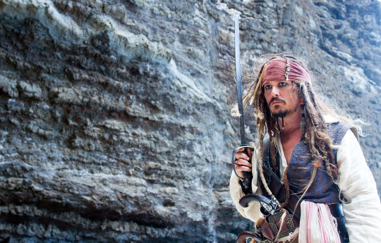 Photo wallpaper rock, actor, Johnny Depp, captain Jack Sparrow, saber, Pirates of the Caribbean 4