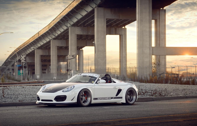 Photo wallpaper white, bridge, Porsche, white, Porsche, Boxster, Spyder
