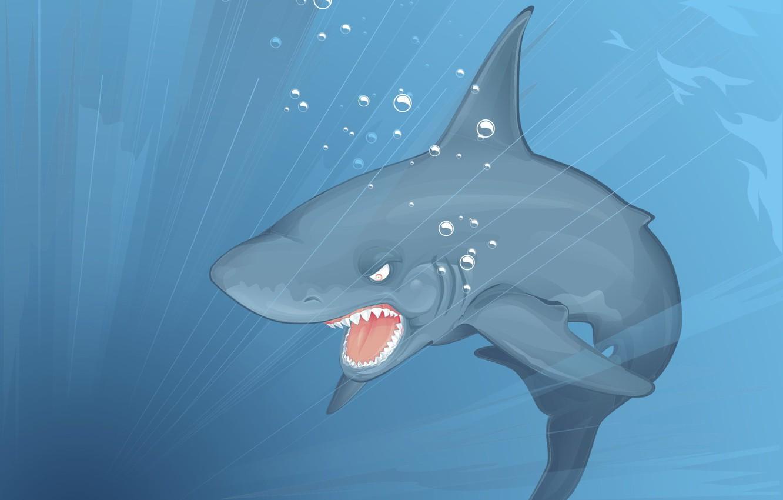Photo wallpaper vector, shark, Depth