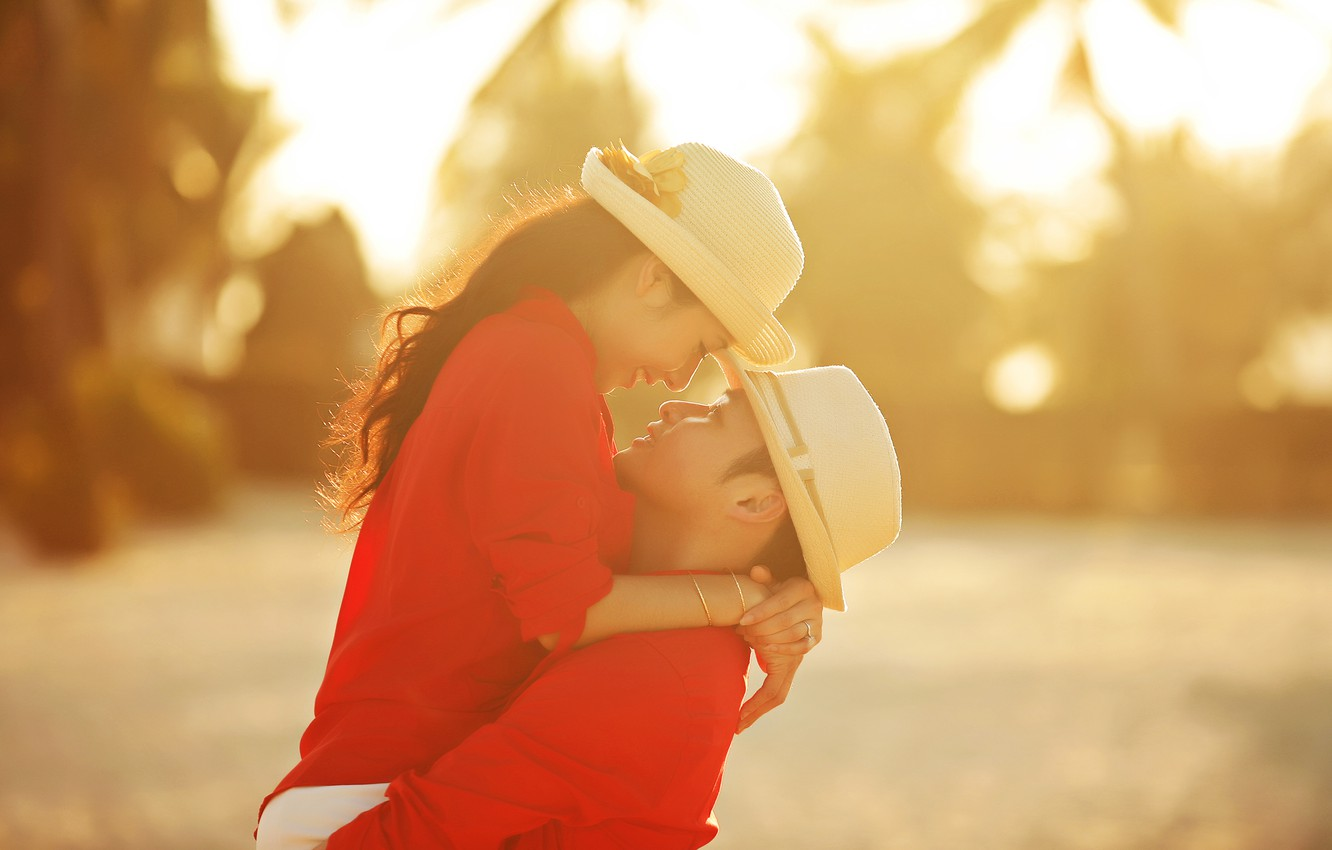Photo wallpaper summer, girl, love, hat, profile, guy, lovers, feeling, Asians