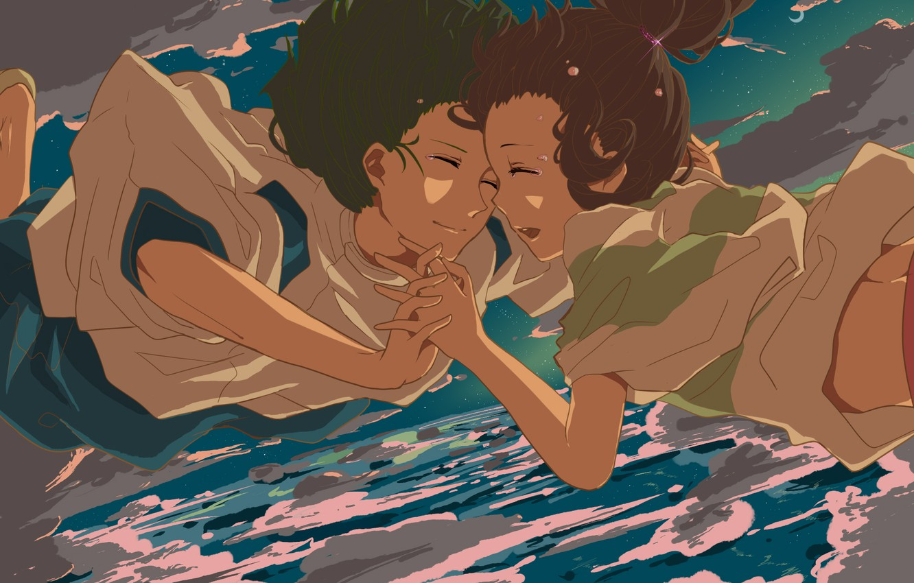 Photo wallpaper the sky, clouds, anime, boy, tears, drop, art, girl, spirited away, spirited away, Hayao Miyazaki, …