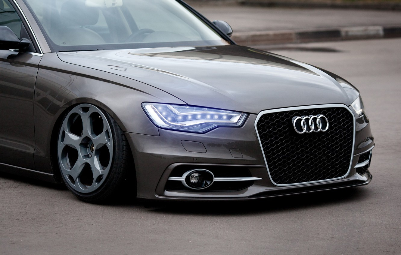Photo wallpaper Audi, Car, Front, Rings, Stance, Wheels, Ligth