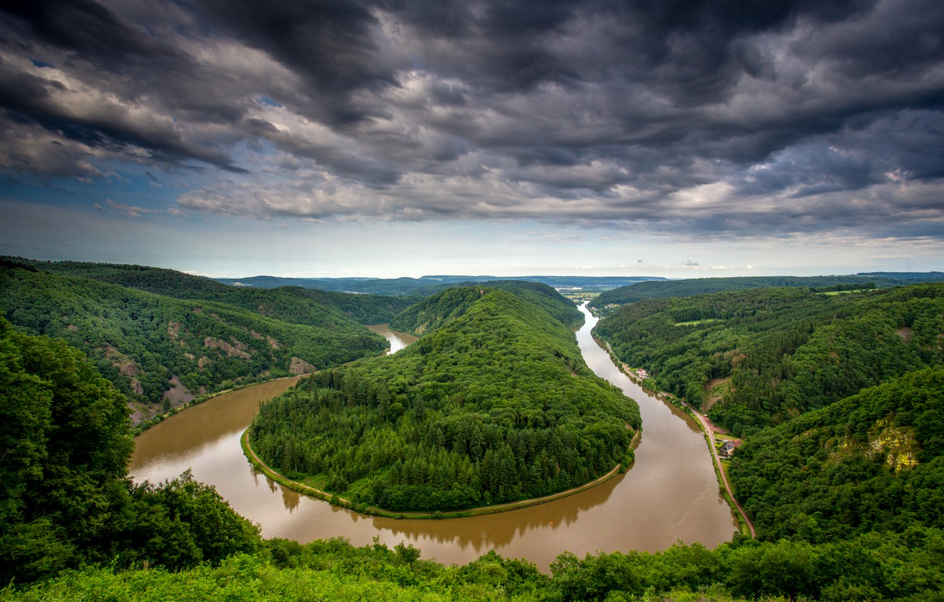 Photo wallpaper forest, the sky, clouds, trees, landscape, clouds, nature, river, view, height, Germany, bending, panorama, river, …