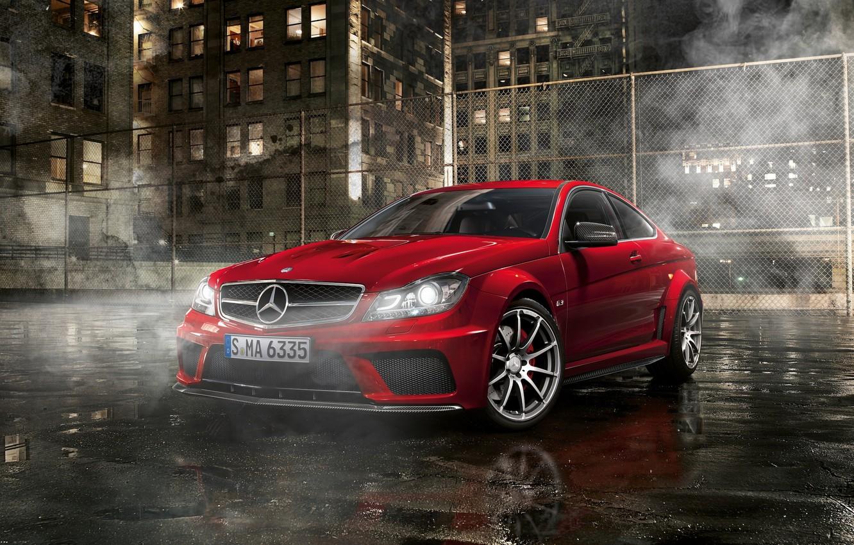Photo wallpaper night, street, Parking, Mercedes, amg, Mercedes Benz C63
