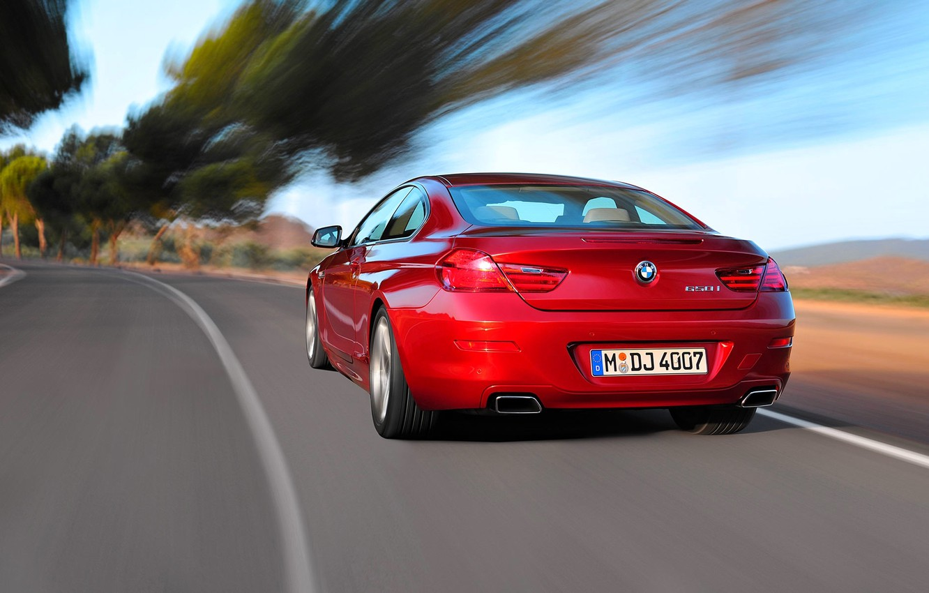 Photo wallpaper Red, Auto, Road, BMW, Boomer, 6 Series, in Motion
