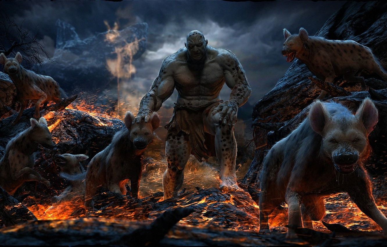 Photo wallpaper animals, rocks, fire, monster, predators, art, lava, hyena, Mahmmoud Salah Ali
