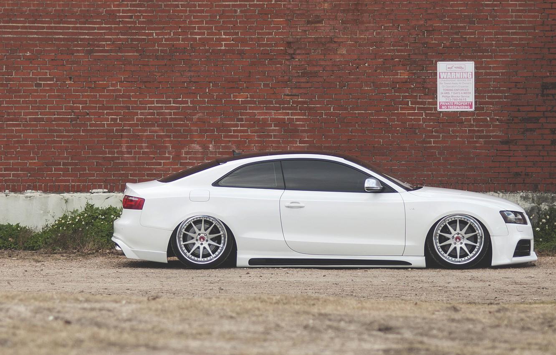 Photo wallpaper Audi, Audi, profile, white, white, low, stance