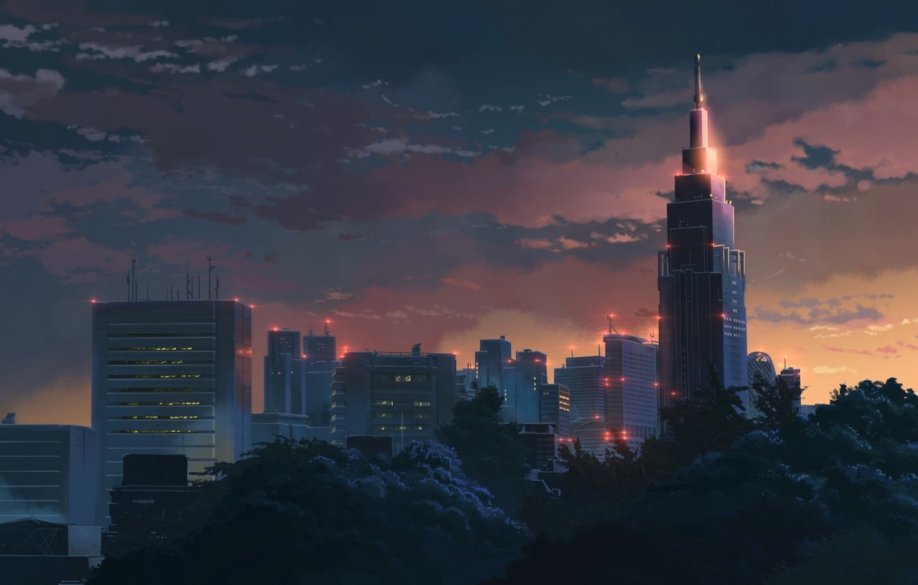 Photo wallpaper Sunset, The sky, Clouds, Trees, Building, Anime, Twilight, Makoto Xingkai, Anime, Sunset, The Garden Of …