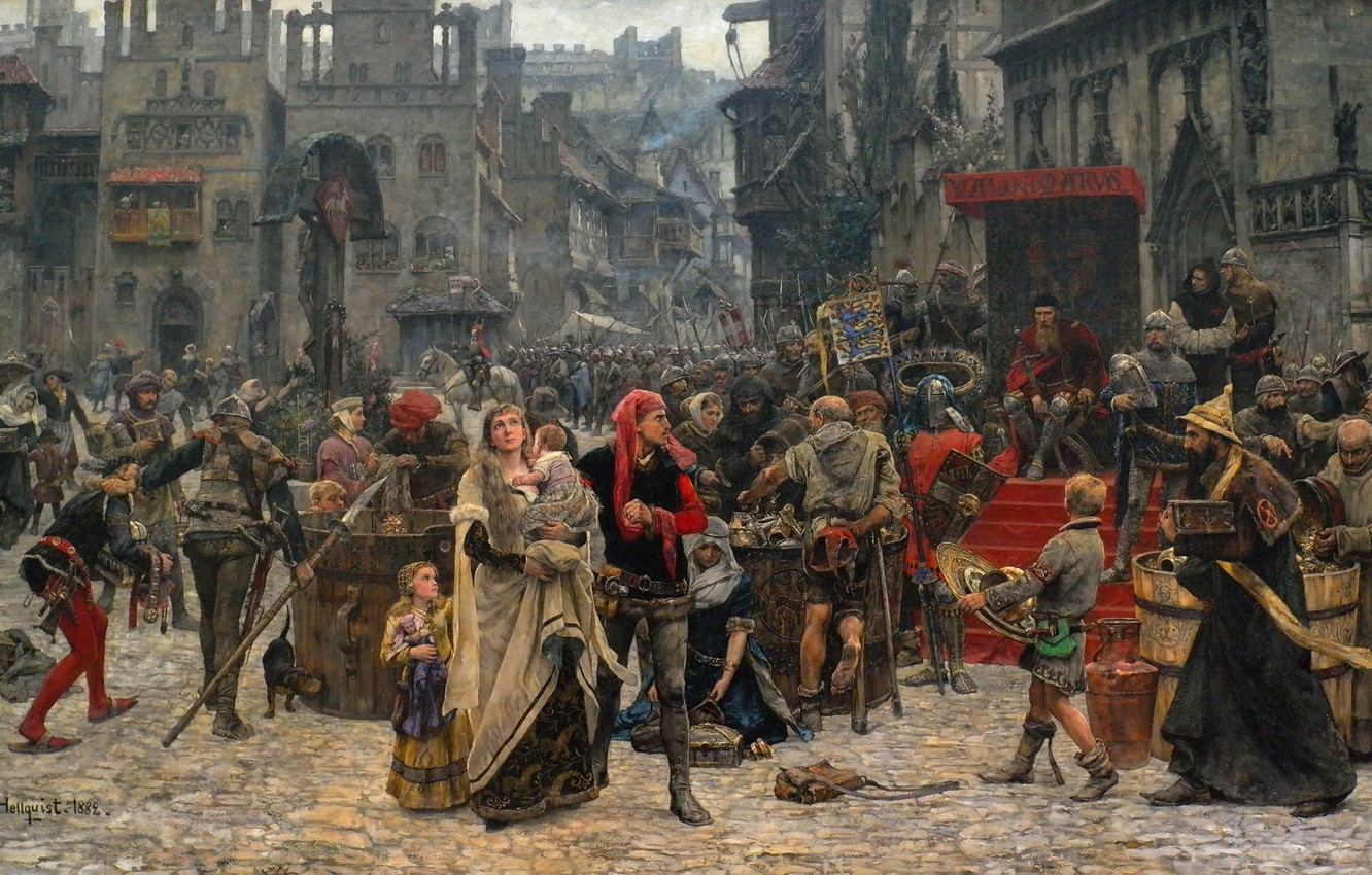 Photo wallpaper the crowd, picture, area, the middle ages, 1889