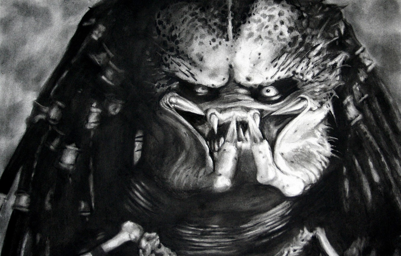 Photo wallpaper figure, monster, predator, black and white, mug, Predator