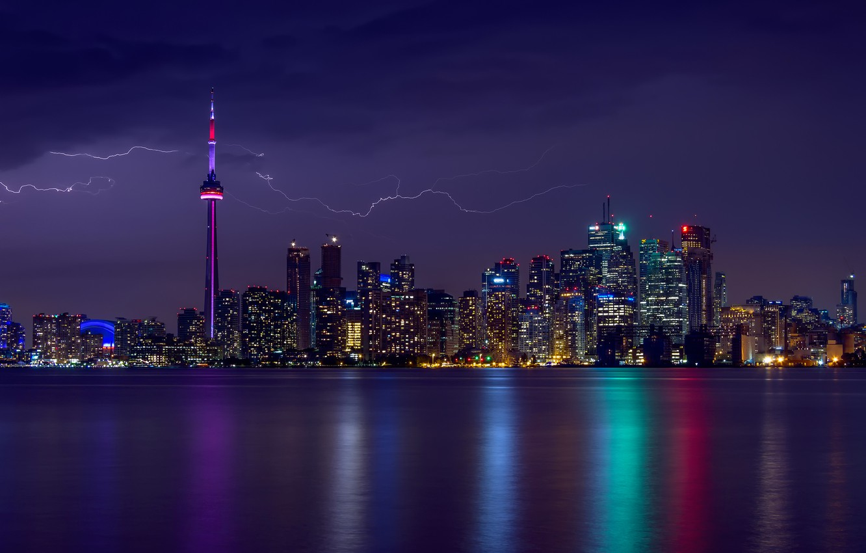 Photo wallpaper the storm, the sky, light, lights, lightning, home, the evening, backlight, Canada, Ontario, Toronto