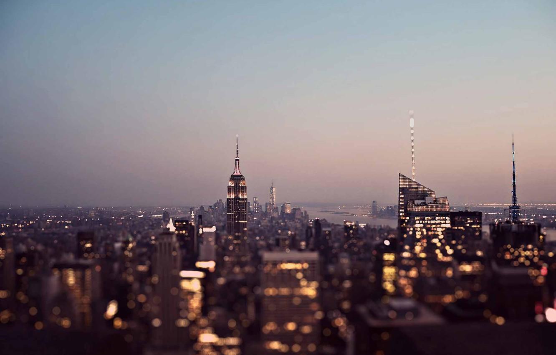 Photo wallpaper United States, twilight, sunset, New York, Manhattan, dusk, skyscrapers, cityscape, Gotham, Empire States Building, urban …