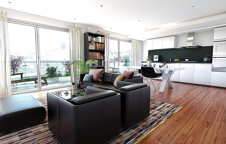 Photo wallpaper design, the city, style, interior, balcony, living room, city apartment