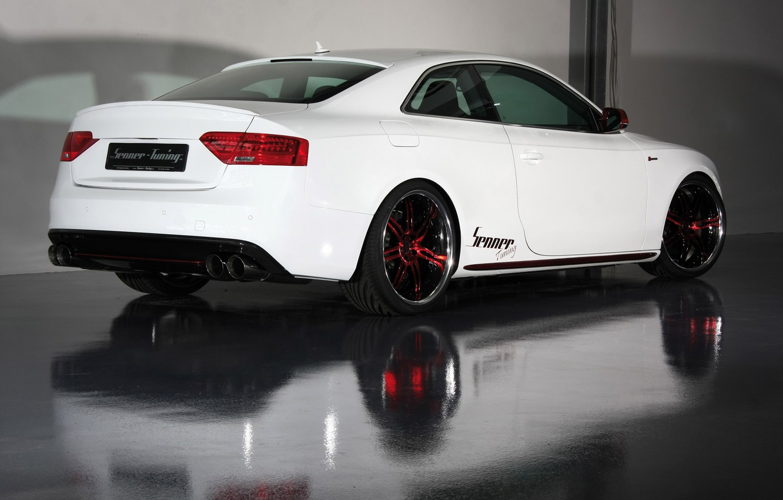 Photo wallpaper white, Audi, audi, red, white, wheels, drives, senner tuning