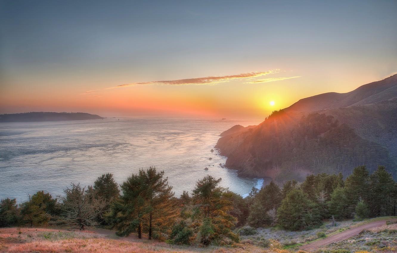 Photo wallpaper landscape, sunset, mountains, nature, Bay