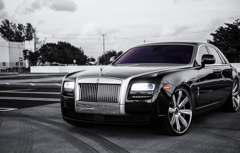 Photo wallpaper black, Rolls Royce, Ghost, black, rolls Royce