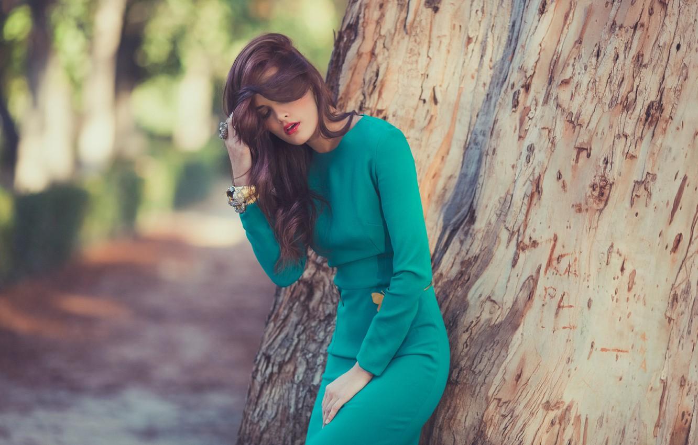 Photo wallpaper girl, pose, tree, dress, bracelets