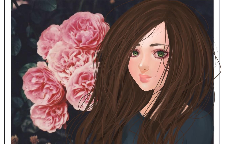 Photo wallpaper flowers, eyelashes, hair, art, girl. green eyes
