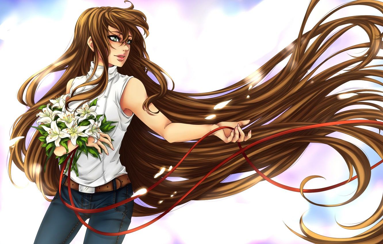 Photo wallpaper look, girl, flowers, bouquet, anime, profile, long hair, ribbons