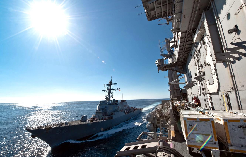 Photo wallpaper the sun, the ocean, ship, USS John S. McCain (DDG-56), Navy