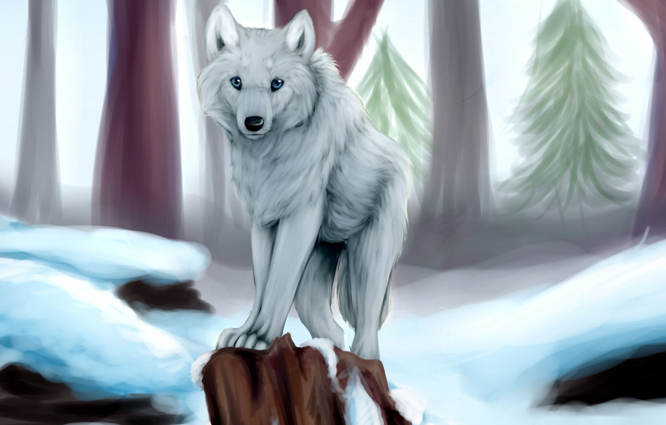 Photo wallpaper winter, white, snow, trees, wolf, stump, tree