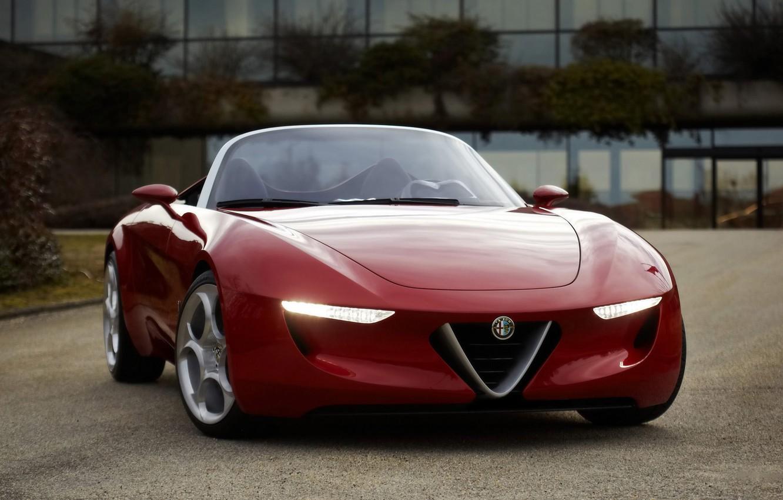Photo wallpaper convertible, red, Romeo, alpha