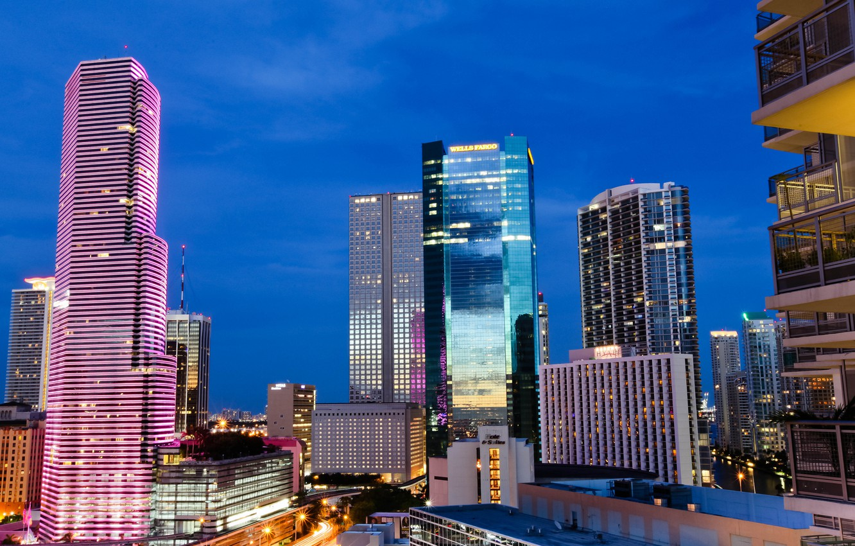 Photo wallpaper night, city, the city, lights, lights, FL, USA, USA, Miami, night, Florida, Miami