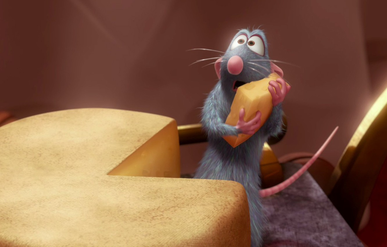 Photo wallpaper cartoon, Ratatouille, mouse, cheese