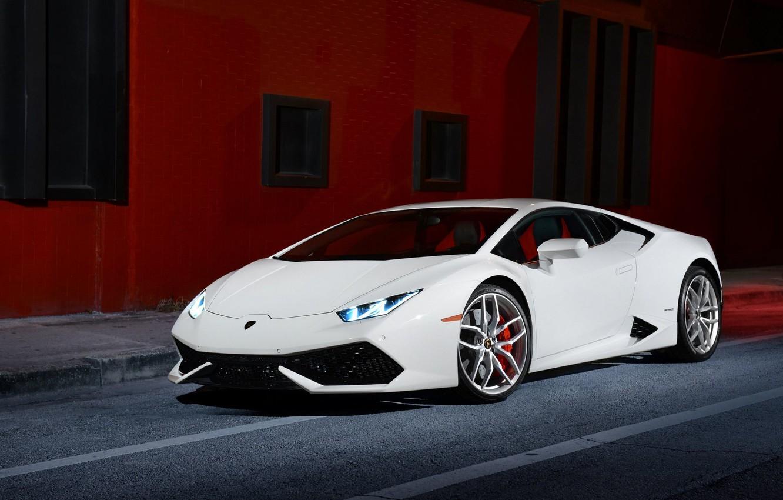 Photo wallpaper Lamborghini, Front, White, Smoke, Supercar, Huracan, LP610-4, Ligth