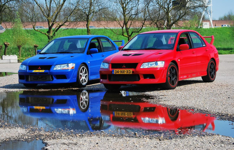 Photo wallpaper Mitsubishi, Lancer, Red, Blue, Evolution VII, &