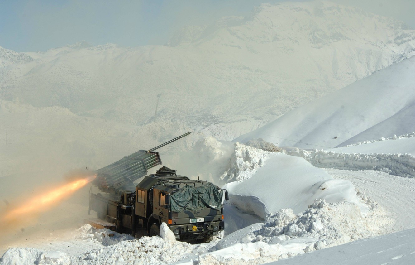 Photo wallpaper fire, flame, mountains, snow, truck, M2 Browning, yuki, spark, shooting, suspension 6x6 or 8 × …