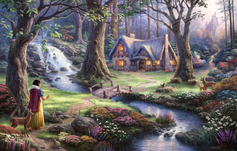 Photo wallpaper trees, flowers, bridge, castle, waterfall, tale, the evening, art, house, fantasy, sunshine, river, deer, Princess, …