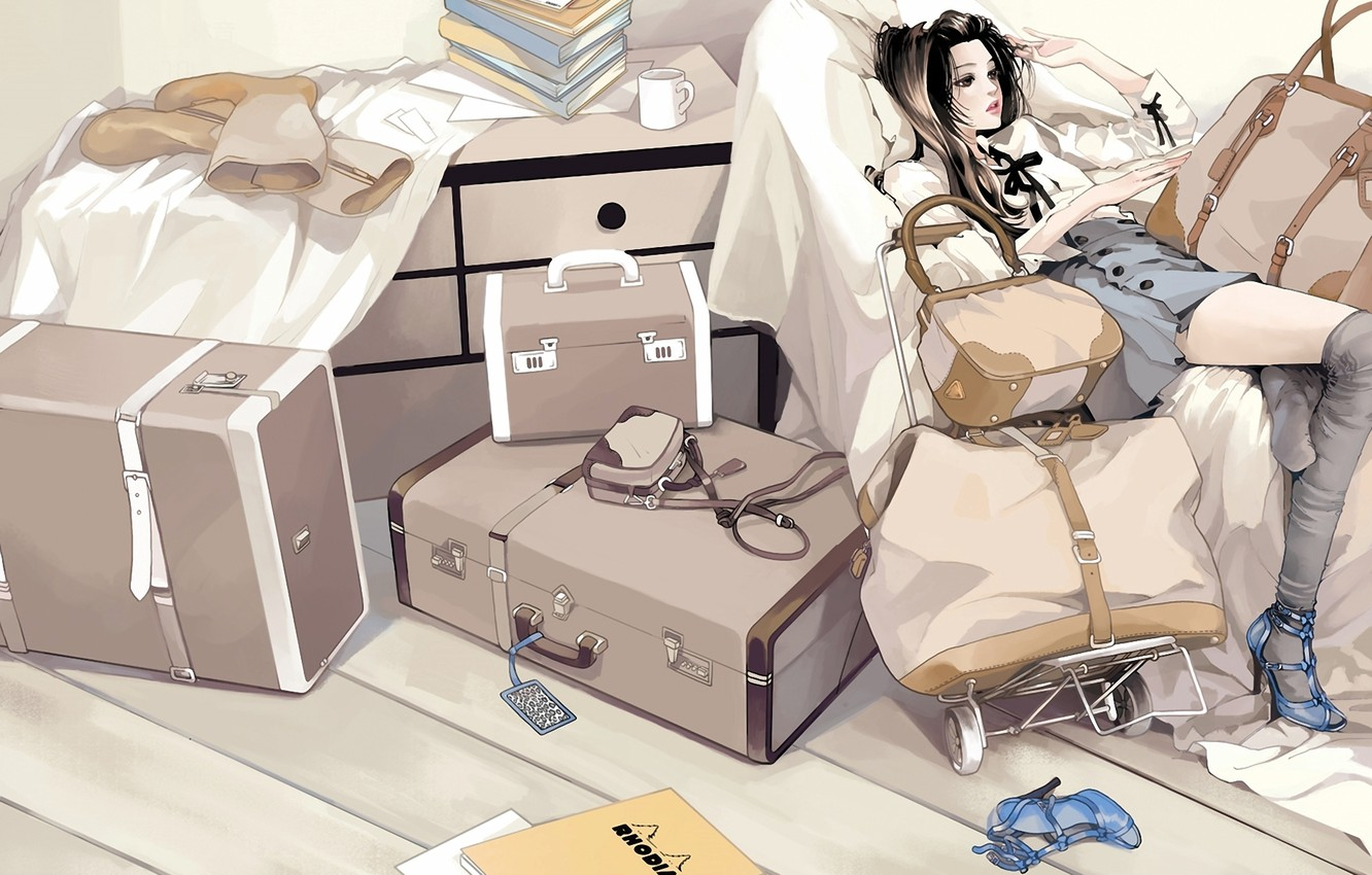 Photo wallpaper girl, books, stockings, boots, art, shoes, mug, sitting, bags, Luggage, suitcases, daisy