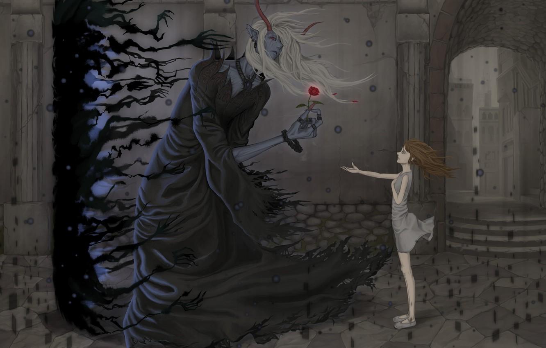 Photo wallpaper flower, girl, the wind, horns, The demon