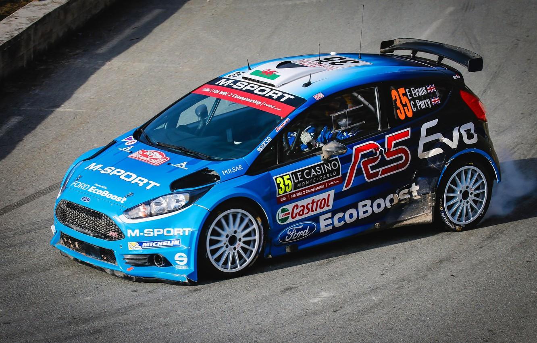 Photo wallpaper Ford, Smoke, Turn, WRC, Rally, Rally, Fiesta, Monte Carlo, 2016, Elfyn Evans