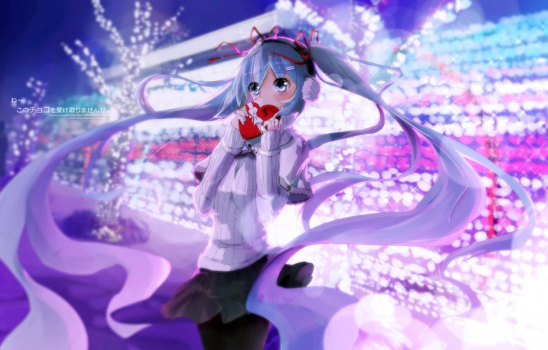 Photo wallpaper winter, girl, anime, headphones, art, vocaloid, hatsune miku, heart, kuroi