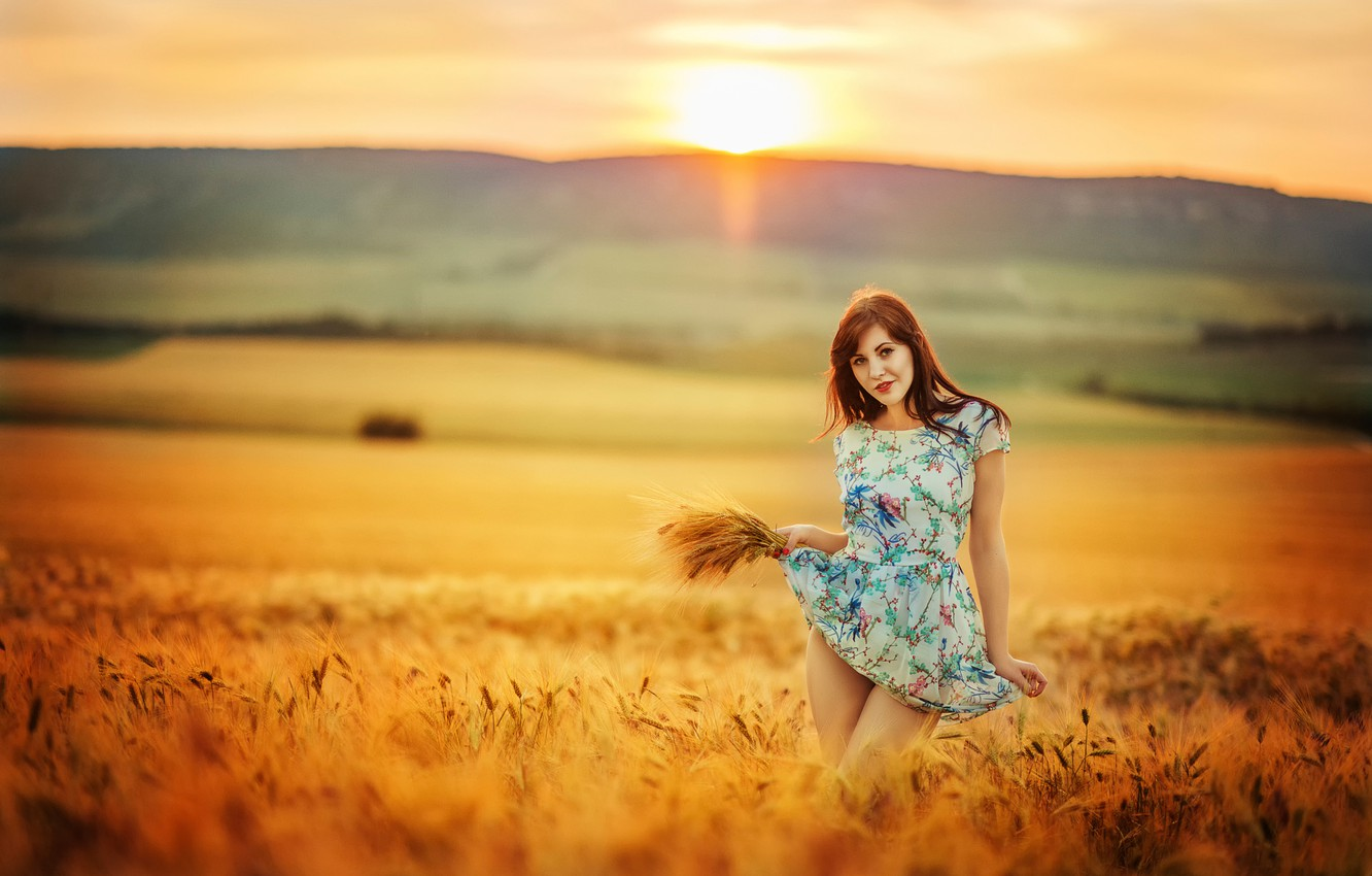 Photo wallpaper field, girl, the sun, dress, legs