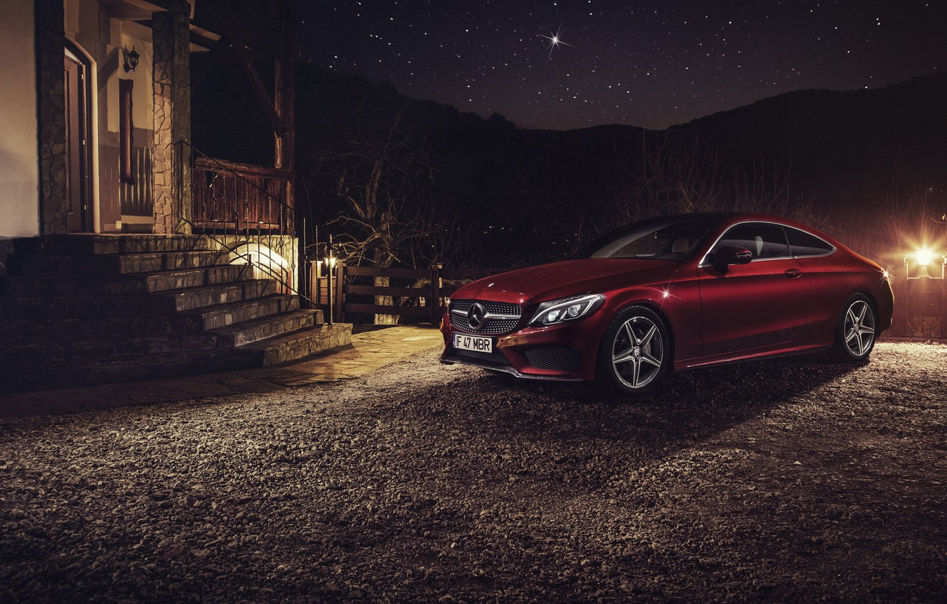 Photo wallpaper car, night, Mercedes Benz, Coupe, C Class, Ciprian Mihai