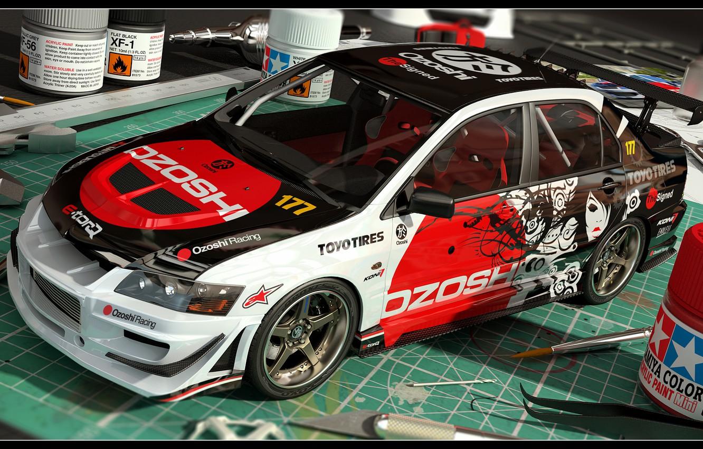 Photo wallpaper Mitsubishi, Evo IX, 3D Car, Mini Model, Coloring