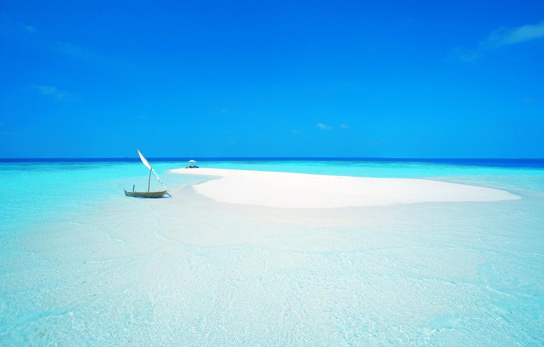 Photo wallpaper sand, sea, beach, the sky, the ocean, boat, island, chair, umbrella, sail, the Maldives