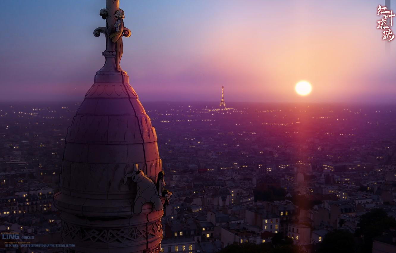 Photo wallpaper girl, the sun, sunset, the city, lights, Eiffel tower, anime, roof, bear, art, guy, miharu