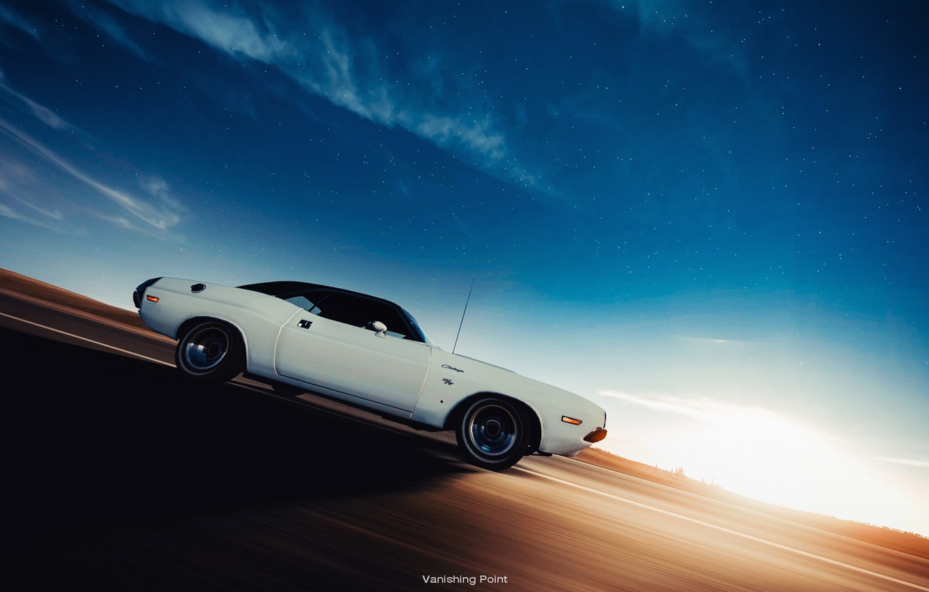 Photo wallpaper Dodge, dodge challenger, in motion, muscle car, vanishing point